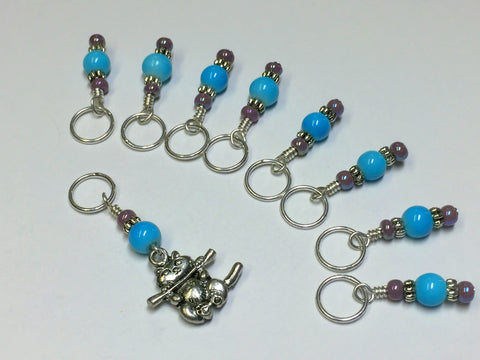 Kitten Stitch Marker Set- Blue , Stitch Markers - Jill's Beaded Knit Bits, Jill's Beaded Knit Bits  - 8