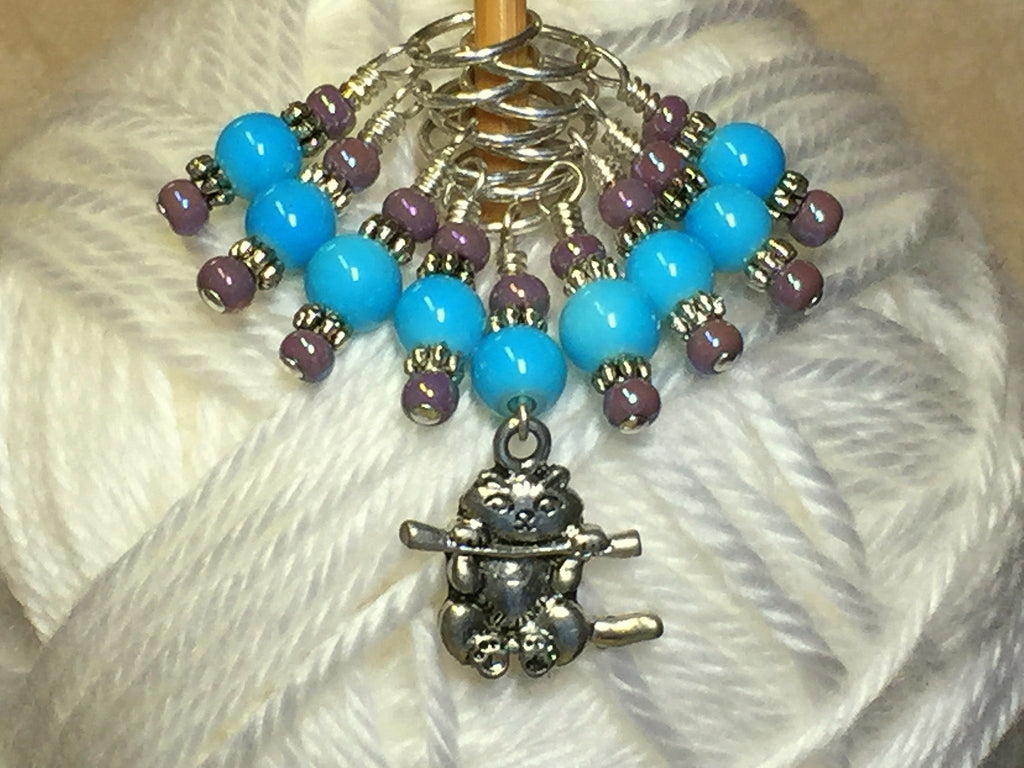 Kitten Stitch Marker Set- Blue , Stitch Markers - Jill's Beaded Knit Bits, Jill's Beaded Knit Bits  - 1