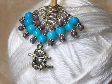 Kitten Stitch Marker Set- Blue , Stitch Markers - Jill's Beaded Knit Bits, Jill's Beaded Knit Bits  - 2