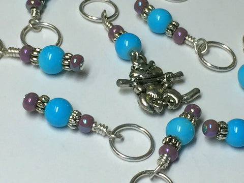 Kitten Stitch Marker Set- Blue , Stitch Markers - Jill's Beaded Knit Bits, Jill's Beaded Knit Bits  - 7