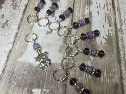 Happy Cat Stitch Marker Set , Stitch Markers - Jill's Beaded Knit Bits, Jill's Beaded Knit Bits  - 5