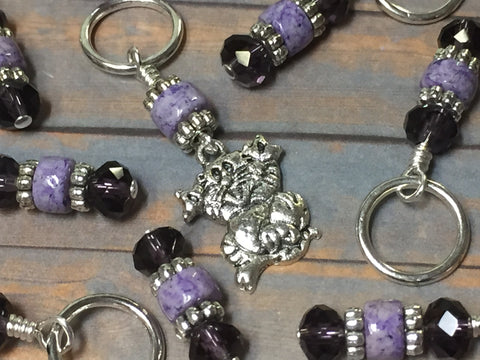 Happy Cat Stitch Marker Set , Stitch Markers - Jill's Beaded Knit Bits, Jill's Beaded Knit Bits  - 2
