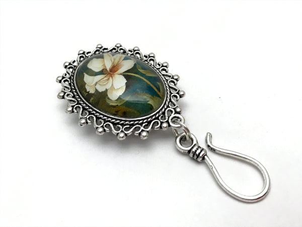 MAGNETIC Hibiscus Flower Portuguese Knitting Pin- ID Badge Holder
