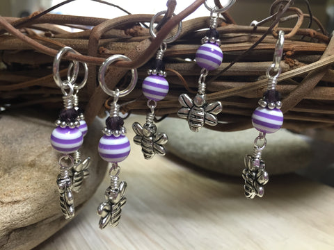 Honey Bee Knitting Marker Set- Purple , Stitch Markers - Jill's Beaded Knit Bits, Jill's Beaded Knit Bits  - 4