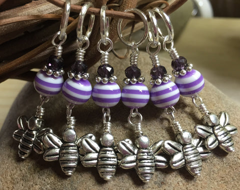 Honey Bee Knitting Marker Set- Purple , Stitch Markers - Jill's Beaded Knit Bits, Jill's Beaded Knit Bits  - 1