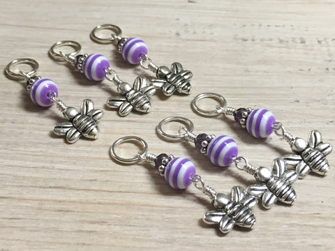 Honey Bee Knitting Marker Set- Purple , Stitch Markers - Jill's Beaded Knit Bits, Jill's Beaded Knit Bits  - 3