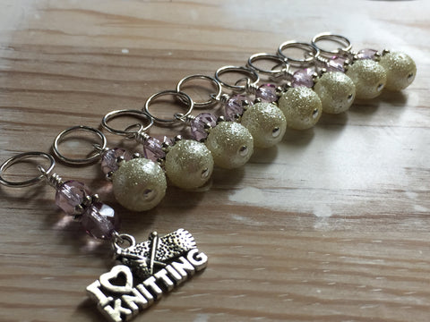 I Love Knitting Stitch Marker Set , Stitch Markers - Jill's Beaded Knit Bits, Jill's Beaded Knit Bits  - 2
