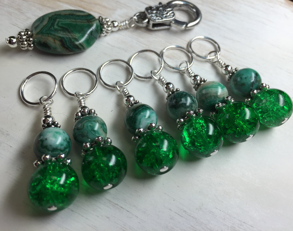 Green Agate & Cracked Glass Stitch Marker Holder Set- Snag Free , Stitch Markers - Jill's Beaded Knit Bits, Jill's Beaded Knit Bits  - 1