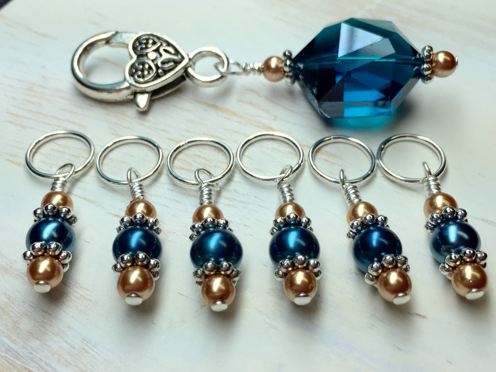 Aqua Gold Stitch Marker Holder Set , Stitch Markers - Jill's Beaded Knit Bits, Jill's Beaded Knit Bits  - 1