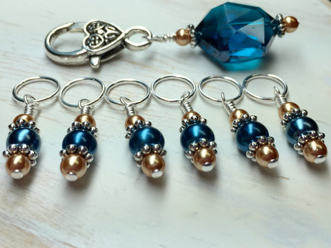 Aqua Gold Stitch Marker Holder Set , Stitch Markers - Jill's Beaded Knit Bits, Jill's Beaded Knit Bits  - 2