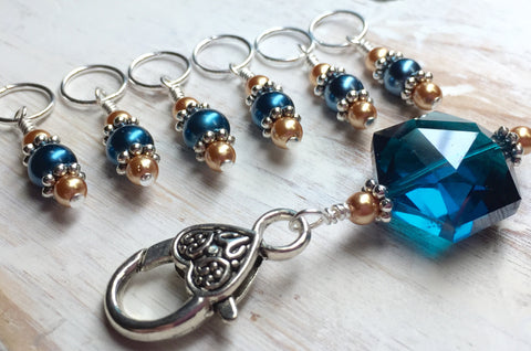Aqua Gold Stitch Marker Holder Set , Stitch Markers - Jill's Beaded Knit Bits, Jill's Beaded Knit Bits  - 3