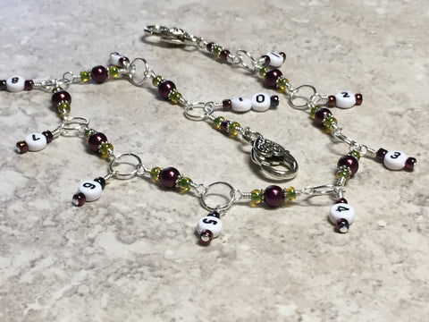 Chain Style Row Counter- Wine/Olive , Stitch Markers - Jill's Beaded Knit Bits, Jill's Beaded Knit Bits  - 1
