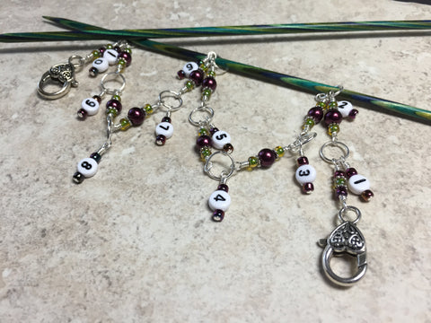 Chain Style Row Counter- Wine/Olive , Stitch Markers - Jill's Beaded Knit Bits, Jill's Beaded Knit Bits  - 2