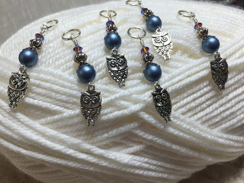 6 Snag Free Blue Owl Stitch Markers