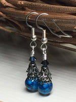 Dark Aqua River Stone Earrings , jewelry - Jill's Beaded Knit Bits, Jill's Beaded Knit Bits  - 3