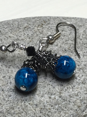 Dark Aqua River Stone Earrings , jewelry - Jill's Beaded Knit Bits, Jill's Beaded Knit Bits  - 4