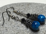 Dark Aqua River Stone Earrings , jewelry - Jill's Beaded Knit Bits, Jill's Beaded Knit Bits  - 1