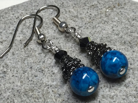 Dark Aqua River Stone Earrings , jewelry - Jill's Beaded Knit Bits, Jill's Beaded Knit Bits  - 6