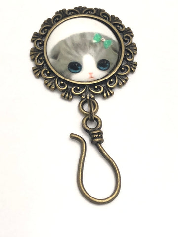 MAGNETIC Kitten Portuguese Knitting Pin- Gift for Knitters