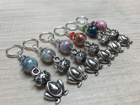Pot Belly Cat Stitch Markers , Stitch Markers - Jill's Beaded Knit Bits, Jill's Beaded Knit Bits  - 2