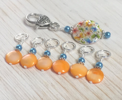 Butterflies Stitch Marker Holder with Snag Free Pastel Orange Stitch Markers