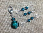 Teal Glass Stitch Marker Set , Stitch Markers - Jill's Beaded Knit Bits, Jill's Beaded Knit Bits  - 2