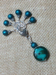 Teal Glass Stitch Marker Set , Stitch Markers - Jill's Beaded Knit Bits, Jill's Beaded Knit Bits  - 3