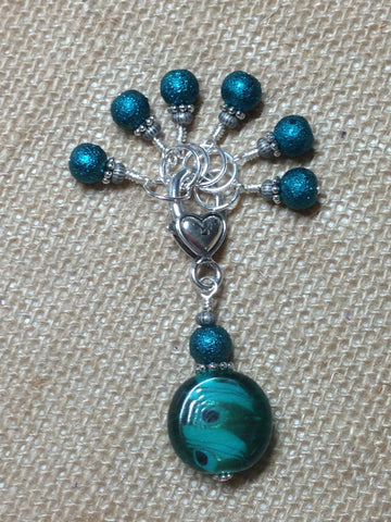 Teal Glass Stitch Marker Set , Stitch Markers - Jill's Beaded Knit Bits, Jill's Beaded Knit Bits  - 4