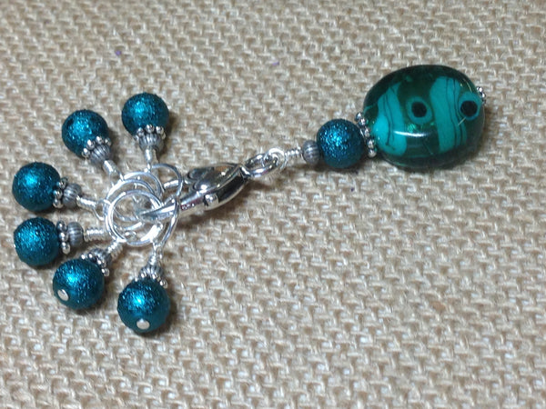 Teal Glass Stitch Marker Set , Stitch Markers - Jill's Beaded Knit Bits, Jill's Beaded Knit Bits  - 1