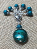 Teal Glass Stitch Marker Set , Stitch Markers - Jill's Beaded Knit Bits, Jill's Beaded Knit Bits  - 5