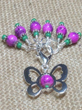 Beaded Butterfly Stitch Marker Set-Pink , Stitch Markers - Jill's Beaded Knit Bits, Jill's Beaded Knit Bits  - 2