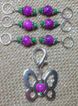 Beaded Butterfly Stitch Marker Set-Pink , Stitch Markers - Jill's Beaded Knit Bits, Jill's Beaded Knit Bits  - 4