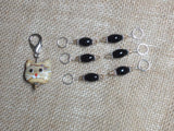 Black Stitch Markers with Beaded Cat Holder Clip , Stitch Markers - Jill's Beaded Knit Bits, Jill's Beaded Knit Bits  - 3