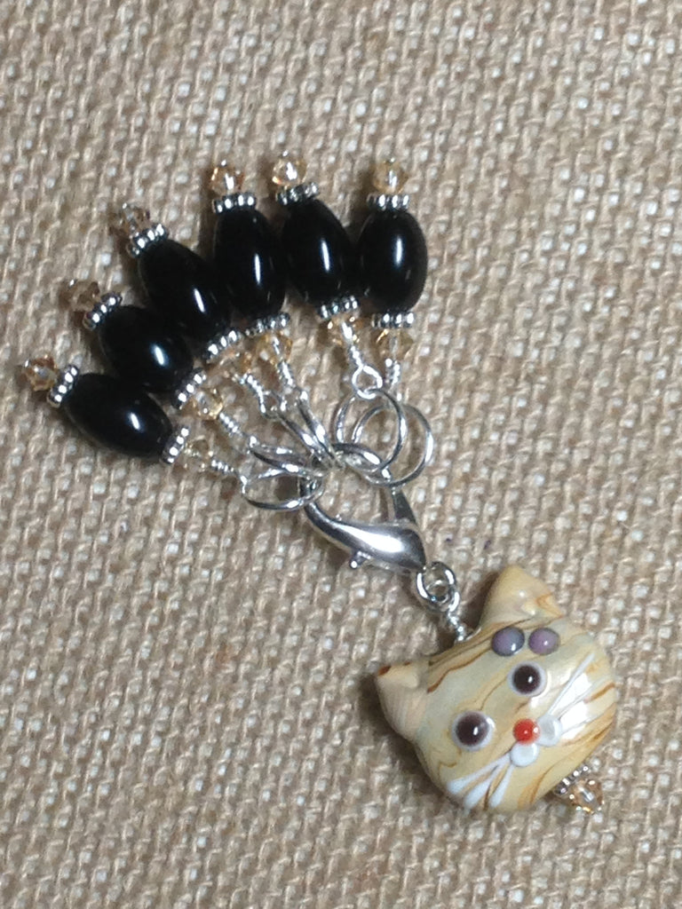 Black Stitch Markers with Beaded Cat Holder Clip , Stitch Markers - Jill's Beaded Knit Bits, Jill's Beaded Knit Bits  - 1
