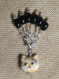 Black Stitch Markers with Beaded Cat Holder Clip , Stitch Markers - Jill's Beaded Knit Bits, Jill's Beaded Knit Bits  - 2