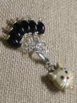 Black Stitch Markers with Beaded Cat Holder Clip , Stitch Markers - Jill's Beaded Knit Bits, Jill's Beaded Knit Bits  - 4