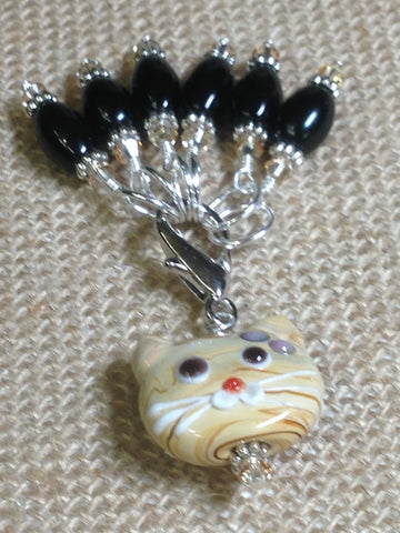 Black Stitch Markers with Beaded Cat Holder Clip , Stitch Markers - Jill's Beaded Knit Bits, Jill's Beaded Knit Bits  - 5