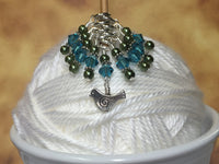 Swirly Bird Snag Free Stitch Marker Set , Stitch Markers - Jill's Beaded Knit Bits, Jill's Beaded Knit Bits  - 5