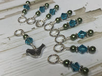 Swirly Bird Snag Free Stitch Marker Set , Stitch Markers - Jill's Beaded Knit Bits, Jill's Beaded Knit Bits  - 6