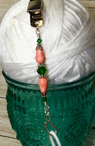 Portuguese Knitting Pin- Salmon Emerald , Portugese Knitting Pin - Jill's Beaded Knit Bits, Jill's Beaded Knit Bits  - 4