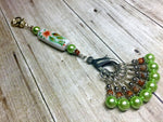 Handpainted Orange Flower Knitting Bag Lanyard , Stitch Markers - Jill's Beaded Knit Bits, Jill's Beaded Knit Bits  - 1