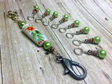 Handpainted Orange Flower Knitting Bag Lanyard , Stitch Markers - Jill's Beaded Knit Bits, Jill's Beaded Knit Bits  - 6