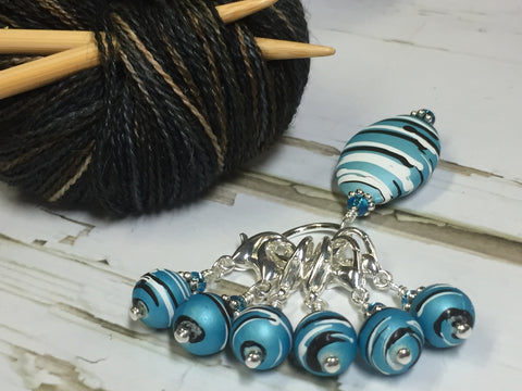 Ice Blue Crochet Stitch Marker Set , Stitch Markers - Jill's Beaded Knit Bits, Jill's Beaded Knit Bits  - 1