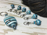 Ice Blue Crochet Stitch Marker Set , Stitch Markers - Jill's Beaded Knit Bits, Jill's Beaded Knit Bits  - 2