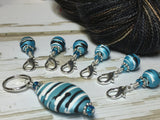 Ice Blue Crochet Stitch Marker Set , Stitch Markers - Jill's Beaded Knit Bits, Jill's Beaded Knit Bits  - 3