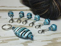 Ice Blue Crochet Stitch Marker Set , Stitch Markers - Jill's Beaded Knit Bits, Jill's Beaded Knit Bits  - 4