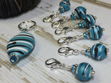 Ice Blue Crochet Stitch Marker Set , Stitch Markers - Jill's Beaded Knit Bits, Jill's Beaded Knit Bits  - 5