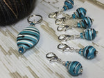 Ice Blue Crochet Stitch Marker Set , Stitch Markers - Jill's Beaded Knit Bits, Jill's Beaded Knit Bits  - 6