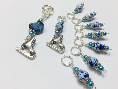 Ice Skate Stitch Marker Set with Clip Holder , Stitch Markers - Jill's Beaded Knit Bits, Jill's Beaded Knit Bits  - 1