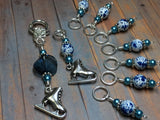 Ice Skate Stitch Marker Set with Clip Holder , Stitch Markers - Jill's Beaded Knit Bits, Jill's Beaded Knit Bits  - 6
